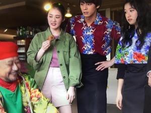 「隕石家族」5話結月(北香那)衣装ピンクのTシャツ