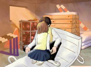 体育館倉庫でキスするカップルのイラスト
