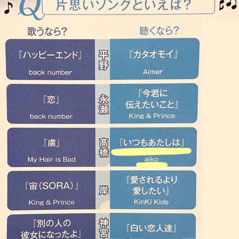 髙橋海人aikoの好きな曲「いつもあたしは」